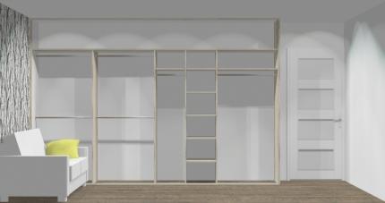 Wnętrze szafy szerokość 350 - 400 cm  3540w25x4
